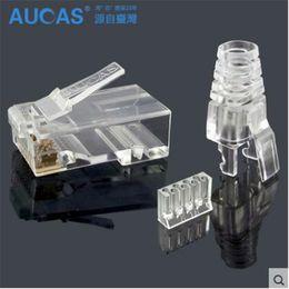Argentina Aucas de alta velocidad rj45 cat6 plug 8P8C conector de cable de red de la computadora modular plug cat 3 piezas traje envío gratis Suministro