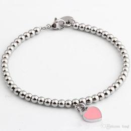 Canada Vente en gros- Marque célèbre Titanium Steel Bracelets bijoux classiques Bracelet coeur pour femmes Charm perles Bracelet pulseiras bijoux A1097 Offre