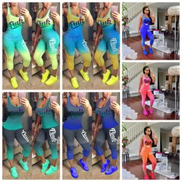 Wholesale box love - Love Pink Letter Tracksuits 10 Styles Gradient Color Sleeveless Tank Top Vest Tights Pants Women Summer 2pcs Jogger Suits OOA5118