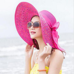 Wholesale fold straw hats - Fashion Women Fold Wide Eaves Pure Color Cap Outdoor Travel Beach Sunscreen Casual Straw Hat Hot Sale 11 2ad ff