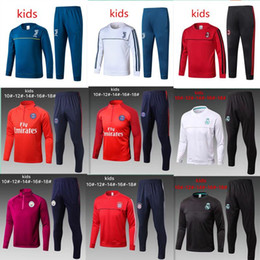 Wholesale Kids Football Suits - Kids TOP THAI QUALITY New 17-18 Real Madrid Kids soccer chandal AC milan NEYMAR JR MESSI football Long tracksuit 2017-2018 training suit