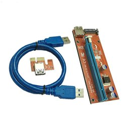 Wholesale power supply gold - Gold Plating With LED Ver008 PCIe PCI-E PCI Express Riser Card 1X 4x 8x 16x USB 3.0 Data Cable 15 Pin SATA Power Supply for BTC OTH826