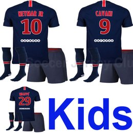Wholesale Baby Boys Shorts - 18 19 NEYMAR JR Kids soccer jersey 2018 2019 Child MBAPPE CAVANI DI MARIA T SILVA PASTORE baby football shirt Maillot de foot AAA Thailand
