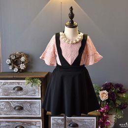 Wholesale Suspender Skirts Sets - 2018 new Spring Summer lace T shirt + suspender skirt Girls Dresses 2 pcs set Girls Dress Suits Children Outfit Kids Sets Best Suits A1534