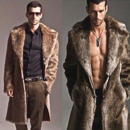 Wholesale mens fur coats jackets - Hot Sale Mens Leather Fur Coat Luxury Winter Warm Overcoat Fur Parka Thick Coat Long Outwear Jacket