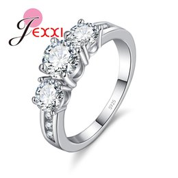 2019 предлагая кольца JEXXI Fashion Bride Jewelry Woman 925 Sterling Silver Wedding Band Clear Crystal Lady Propose Engagement Rings Birthday Gift дешево предлагая кольца