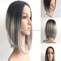 Wholesale Wig Silver Grey Short - Omber Silver Gray Short Wigs Synthetic Lace Front Hair Natural Straight Black Grey Bob Wig For Black White Women Heat Resistant