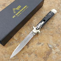 Wholesale Bone Folding Knife - Italy AKC mafia plus 9 inch leverletto D2 blade Natural Horn handle pocket knife folding knife camping knife 1pcs freeshipping