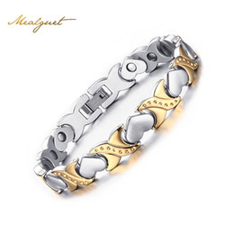 Wholesale Magnetic Gold Titanium Bracelet - Meaeguet Women Bracelets Magnetic Health Care Heart Titanium Steel 18K Gold Plated For Gift Heart Design Charm Bracelets
