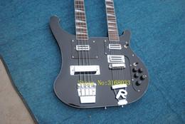 2019 12 cordas mão esquerda Frete grátis Pessoal Tailor preto Double Neck guitarra Elétrica 64 cordas de baixo Rosewood Fingerboard Pode enviar fotos personalização