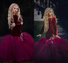 Wholesale Orange Velvet Dress - 2018 Burgundy Velvet Pageant Mermaid Flower Girls Dresses Appliques Ribbon Ruffle Kids Formal Wear Long Sleeves Hand Made Flowers Dresses