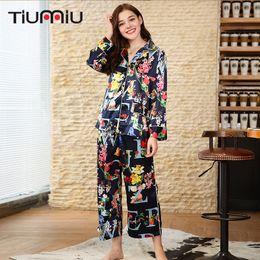 97051a9593 Vintage Floral Printed Women Navy Blue Pajama Sets Ladies V-neck Sleepwear  Home Nightclothes Female Sleep Wear Night Shirt+Pants