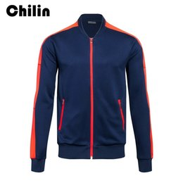 Wholesale Cuff Ribbing - Running Jackets Baseball Soccer Zipper Jacket for men Ribbed Cuffs Solid Color Basic Jacket with Zip Pocket Outwear G004