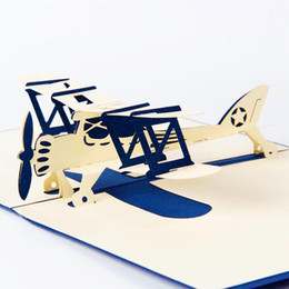 Wholesale laser cut cards holiday - Wholesale- Airplane model 3D laser cut pop up blank holiday happy birthday greeting cards gifts post cards wishes bulk wholesale 4006