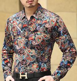 Wholesale Silk Mens Long Shirt - New Brand Luxury Mens velvet Silk Shirts Formal Dress Shirt Bandana Flower Print Men's Long Sleeved Shirt Slim Fit Spring Autumn