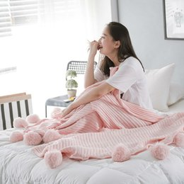 Wholesale Full Cotton Blanket - Ms Knitted Cotton Blanket Solid Spring Autumn Airplane Travel Thread Blanket Size 150x200cm Sofa Bed Home Pink Hairball Blankets