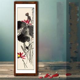 vecchio paesaggio Sconti New Lotus Ink Lavagna Dipinti Fiore e Uccello Decorativo Vecchia Collezione Artigianato Senza cornice Pittura di paesaggio cinese Calligrafia 42yj aa