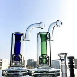 Bongs de cristal de dos cuencos online-Green Blue Glass Bong Reti Perc Bubblers Two Cyclinders Double Matrix Percolator Oil Dab Rigs Water Pipes 18 mm con un tazón de vidrio Ceramic Nail