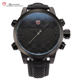 Wholesale shark watched - 2016 Shark Sport Watch LED Digital Dual Time Stainless Steel Auto Date Alarm Leather Band Black Male Clock Men Relojes   SH206
