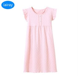 iairay pink cotton nightgowns for girls nightdress girl sleep dress long  sleepshirts kids night gown summer clothes for teens Y18103008 57e06ee6d