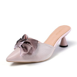 sexy women shower Coupons - Women's Mules Shoes Women Bow Tie 2018 Female Half Slippers Casual Shoes Spring Summer Lady Sexy Pointed 6cm High-heeled Slides Slippers