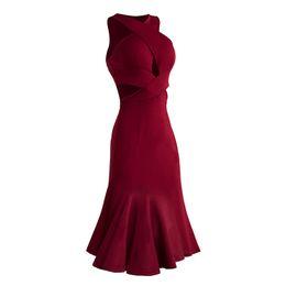 Canada Sexy Danse Latine Robe Rouge Costume Performance Poisson Bone Jupes Vêtements Lady Tango Ou Danse Salle De Danse Practice DWY909 cheap tango sexy red dresses Offre