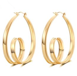 Wholesale Real Hoop Earrings - European simple big hoop earrings real gold anti allergy earings for women ladies des boucles d'oreilles jewelry dropshipping