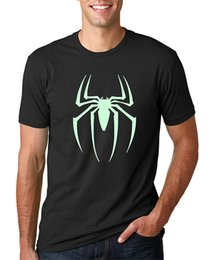 Wholesale Glow T - Glow In The Darknessness Unisex Spiderman Short Sleeve Black T-Shirt 100% Cotton Straight O-Neck Short Sleeve Hipster