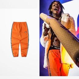 Wholesale M Chic - Hip hop Men Sweatpants Orange Rap Fashion joggers 2018 New Arrivals Lines with slogan Chic Street pants Asian size!!