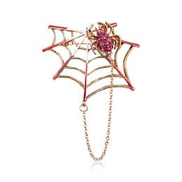 Магниты на хэллоуин онлайн-Горный хрусталь Черный Розовый Магнит Паук и паутина брошь женщины мужчины костюмы броши контактный размер 5.4*4.6 см Хэллоуин украшения аксессуары