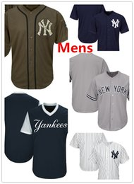 Wholesale teams name - Mens Yankees Team Jerseys Blank Baseball Jerseys No Name No Number White Grey Gray Navy Blue Green Salute To Service Players Weekend