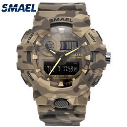 Wholesale New Digital Camouflage - New Camouflage Military Watch SMAEL Brand Sport Watches LED Quartz Clock Men Sport Wristwatch Mens Army Watch Waterproof