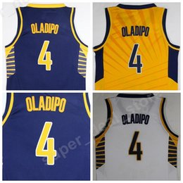 Wholesale Color Blue Jersey Basketball - 2018 New Style 4 Victor Oladipo Jersey Men Yellow Navy Blue White Color Oladipo Basketball Jerseys College Uniforms Sports Free Shipping