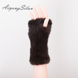 Wholesale fingerless fur long gloves - AiyangSilan Women Winter Fur Gloves Ladies Warm Real Fur Windproof Ladies Girl Solid Gloves Arm Warmer Long Knitting