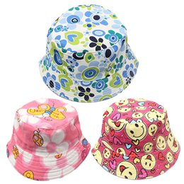 Wholesale wholesale canvas bucket - Children Bucket Hat 30 Colors Casual Flowers Printed Basin Canvas Topee Kids Hats Baby Beanie Caps 2-5T