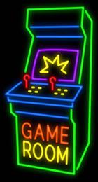 """Benutzerdefinierte neon kommerzielle zeichen online-Spielzimmer Arcade Kabinett Leuchtreklame Benutzerdefinierte Handgemachte Echtglasrohr Kommerziellen Werbung Shop Unternehmen Display Leuchtreklamen 20 """"X 37"""""""