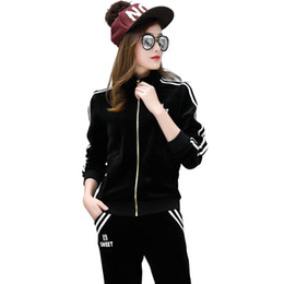 2c0ebf854b China Wholesale- 2Pcs Women Tracksuit stand collar long sleeve+pant Casual  Suit winter and