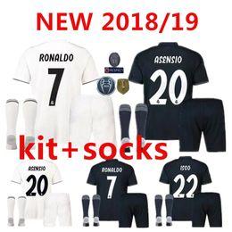 men kit +sock 2018 Real Madrid RONALDO home Away soccer jersey 2018 2019  BENZEMA SERGIO RAMOS MORATA ISCO ASENSIO BALE football jersey shirt ce30b1a6f