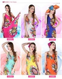 Wholesale chiffon neck scarves - Women Floral Bikini Cover Ups Print Sexy Pareo Beach Dress Bohemian Sarong Chiffon Beach Bikini Wrap Swimwear covers Scarf Shawl Brace