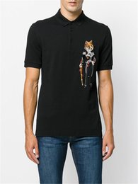 Wholesale Tshirts Slim Sleeve Mens - New Arrive 2018 Embroidery printing Cotton T-Shirt Mens Beads Tshirts Breathable Short Sleeve Slim Sport Polo shirts Man size M-3XL 1540