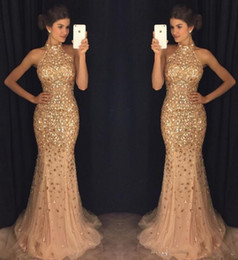 Wholesale High Neck Sparkle Formal Dress - Sparkle Mermaid Prom Dresses High Neck Beaded Crystals Tulle Evening Dresses Sparkly Sexy Blue Formal Party Gowns