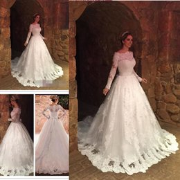 Wholesale Long Sheer Cover Up - Latest Long Sleeve Lace A-line Wedding Dresses Appliques Lace Up Back Tulle Plus Size Bridal Wedding Gowns Bride Dresses