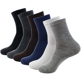 Wholesale Warm Socks For Men - Wholesale- Good Elasticity New Autumn Winter Warm Socks Casual Style Black Gray White 6 Colors Fitted Classical Sock For Men Free Shipping