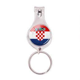 Bandiere delle unghie online-2018 Fashion Croatia Flag Portachiavi in vetro multifunzione Photo Nail Clipper Portachiavi Art Handmade Gioielli Nail Clippers