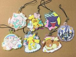 Telefone móvel anime on-line-35 pçs / lote Original japonês anime Pikachu figura de borracha de Silicone doce cheiro encantos do telefone móvel chaveiro cinta