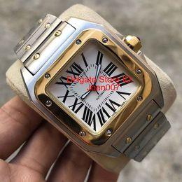 Capas de luxo para homens on-line-2019 Relógios De Luxo 100XL Relógio de aço inoxidável de Ouro 2813 Movimento Automático de Ouro Mecânico de Prata Ouro Caso de Prata dos homens relógios de pulso de Esportes