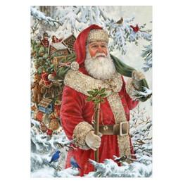 Canada Père Noël Noël DIY 5D Rond Strass Broderie Diamant Peinture Point De Croix Kits Mosaïque Dessin Décor À La Maison Pleine Foret De Noël Cadeaux Offre
