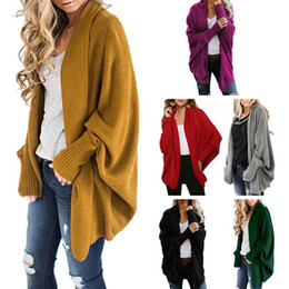 Открытый кабель онлайн-Women Oversized Open Front Sweaters Long Batwing Sleeve Chunky Cable Knitted Poncho Cardigans Solid Color Asymmetric Irregular H
