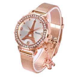 Relógio eiffel on-line-Melhor Mulher Relógios de Marca de Luxo Torre Eiffel Senhoras Rose Gold Watch Mulheres Diamantes de Quartzo Relógios De Pulso Relógio Feminino Relogio feminino Presentes