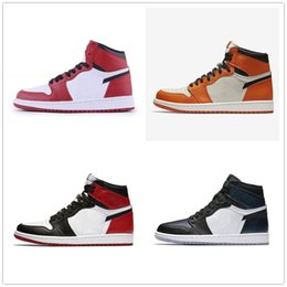 Wholesale Spring Women Tops - Classic 1s 1 high top royal basketball shoes sneakers black red Bred Top three shattered backboard Black Toe men women